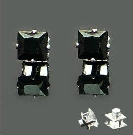 5mm A Pair of New Mens Magnetic Earring Ear Stud Stainless Steel Square Black Onyx  YL1213