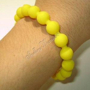 Silicone Rubber Bangle Elastic Belt Bracelet Cuff Dot Wrist Band Bead Ball Yellow A1214