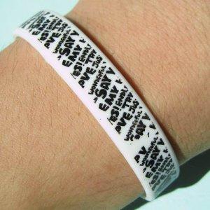 1x Silicone Rubber White Bangle Elastic Belt Bracelet Doodle Words Symbols Black A1186