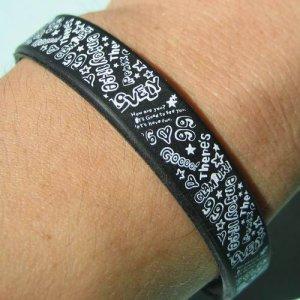 Silicone Rubber Black Bangle Elastic Belt Bracelet Doodle Words Symbols White A1183