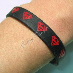 Black Silicon Rubber Bangle Elastic Belt Bracelet Women Men Unisex Red Superman A1161