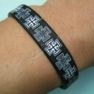 Silicon Rubber Black Bangle Elastic Belt Bracelet Greek Cross Black & White A1155
