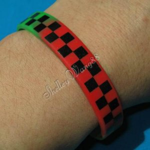 Silicon Rubber Bangle Elastic Belt Bracelet Colorful Unisex Shepherd Check Grid A1015