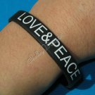 Silicon Black Rubber Bangle Elastic Belt Bracelet Women Men Unisex Love & Peace A1011