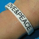 Silicon White Rubber Bangle Elastic Belt Bracelet Women Men Unisex Love & Peace A1007