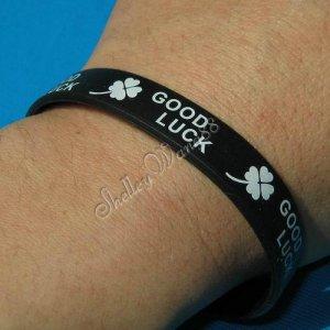 Silicon Rubber Bangle Elastic Belt Bracelet Women Men Unisex White Good Luck A1004