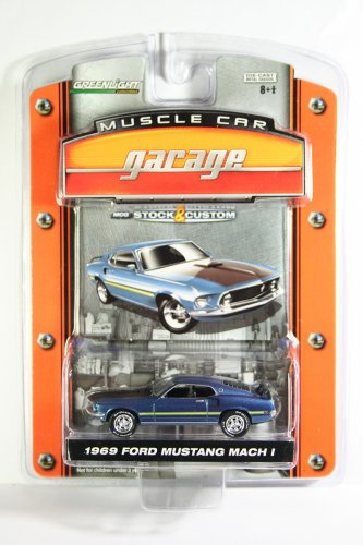 GreenLight 1969 Ford Mustang Mach 1 Muscle Car Garage Stock & Custom Series 1
