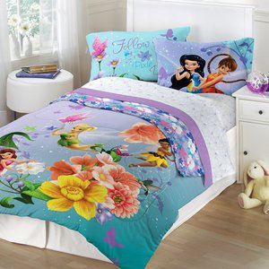 Tinkerbell Fairies Fantasy Floral Full Comforter and Sheet Set