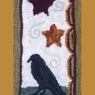 PRIMITIVE RUG HOOKING CROW PATTERN ~ ON LINEN
