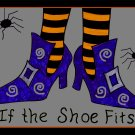 Halloween Witch Shoes Rug Hooking Pattern on Linen