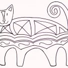 Primitive Rug Hooking Pattern Crazy Cat on Linen