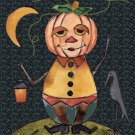 Pumpkin Man Fall Halloween Rug Hooking Patttern~On Linen