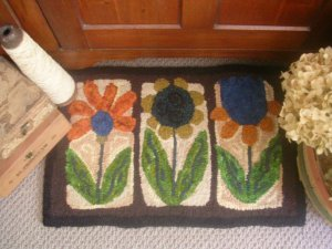 Primitive Flowers Rug Hooking Pattern