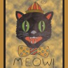 Meow Cat Halloween Rug Hooking Pattern on Linen