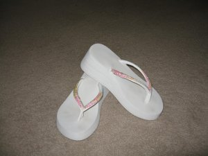 Worn once women's white with sequin strap flip flops, Size 7