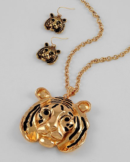 Long Tiger Pendant Necklace & Fish Hook Earring Set