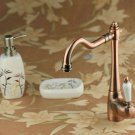Solid Brass swivel Kitchen Faucet - 86281 red antique copper finish