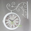 Double Dial Wall Clock in Iron 2658
