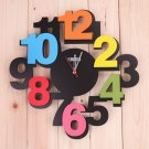 Colorful Number Mute Wall Clock