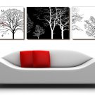 Modern Style Tree Wall Clock in Canvas 3pcs