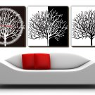 "12"" Modern Style Tree Wall Clock in Canvas 3pcs-16"