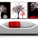 "12"" Modern Style Tree Wall Clock in Canvas 3pcs-12"