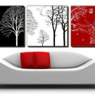 "12"" Modern Style Tree Wall Clock in Canvas 3pcs-11"