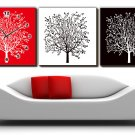 "12"" Modern Style Tree Wall Clock in Canvas 3pcs-10"