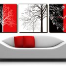 "12"" Modern Style Tree Wall Clock in Canvas 3pcs-9"