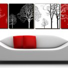"12"" Modern Style Tree Wall Clock in Canvas 4pcs-1"