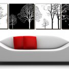 "12"" Modern Style Tree Wall Clock in Canvas 4pcs-2"