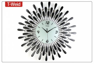 "24"" Modern Crystal Metal Wall Clock"