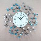 "20"" Diamond-Studded Branches Metal Wall Clock"