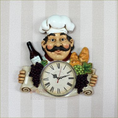 Chef Design Polyresin Wall Clock for Restaurant-2