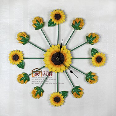 Sunflower Resin Mute Wall Clock
