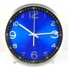 "12"" Modern Style Blue Dial Wall Clock in Stainless Steel"