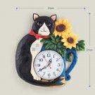 Black Cat Polyresin Wall Clock