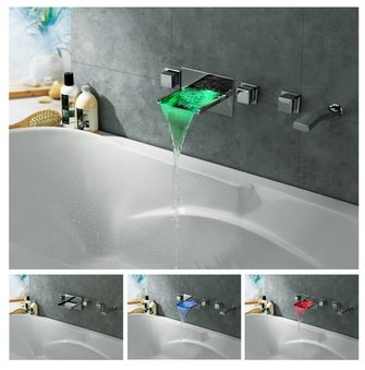 NEW Waterfall Chrome Finish Color Changing Wall Mount Tub Faucet with pull out handshower  LPFW03