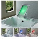 Contemporary Chrome Finish Color Changing LED Waterfall Bathroom Sink Faucet  LPT10