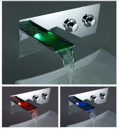 NEW Color Changing LED Waterfall Bathroom Sink Faucet (Wall Mount) LPTW01