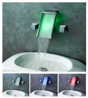 Contemporary Widespread Wall Mount Waterfall 3 Colors LED Bathroom Sink Faucet LPTW10