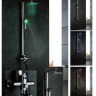 NEW Contemporary wall mount rainfall LED shower Faucet chrome finish LRS01