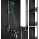 NEW Contemporary wall mount rainfall LED shower Faucet chrome finish LRS03