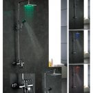 NEW Contemporary wall mount rainfall LED shower Faucet chrome finish LRS04