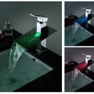 Third Gear Cartridge Water-saving Color Changing LED Waterfall Bathroom Sink Faucet LS01