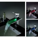 Third Gear Cartridge Water-saving Color Changing LED Waterfall Bathroom Sink Faucet Chrome  LS02