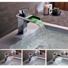 NEW Contemporary rainfall LED basin Faucet chrome finish LS16