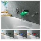LED Waterfall Tub Faucet with Pull-out Hand Shower (Wall Mount) chrome LSW04