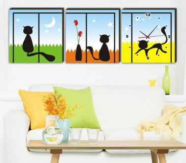 Modern Style Scenic Canvas Wall Clock 3pcs  H3506