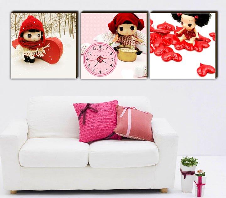 Modern Style Scenic Canvas Wall Clock 3pcs  H3507